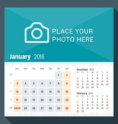 January 2016 desk calendar for 2016 year week vector