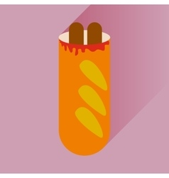 Flat icon with long shadow hot dog sausage double vector