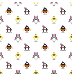 Seamless pattern with birds penguins and chicks vector