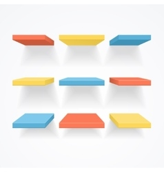 Color empty shelves vector