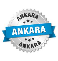 Ankara round silver badge with blue ribbon vector