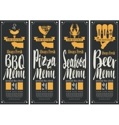 BBQ menu pizza menu seafood menu beer menu vector image