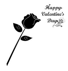 Black rose on white background vector