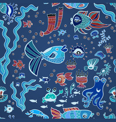 Blue doodle children fish pattern vector