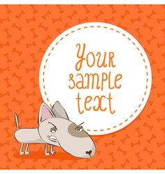 Card background with bull terrier vector