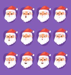Christmas santa claus head emotion faces vector