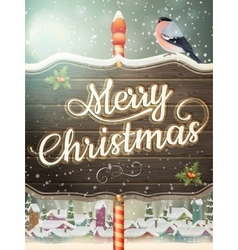 Christmas Vintage street with Signboard EPS 10 vector image