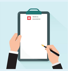 clipboard in hand doctor vector image