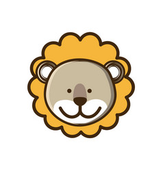 Colorful picture face cute lion animal vector