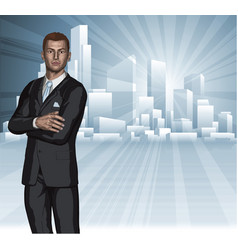Confident young businessman city skyline concept vector