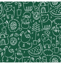Cute seamless chalkboard pattern vector image