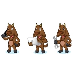 Dark Brown Goat Mascot with laptop vector image vector image