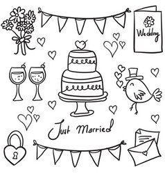 Doodle of wedding style art vector
