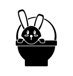 easter bunny in basket present pictogram vector image