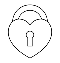Heart lock icon outline style vector