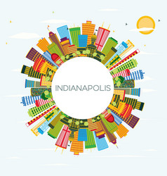 Indianapolis skyline with color buildings blue vector