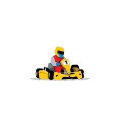 Kart racing sign Young race car driver in the vector image