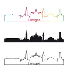 Limoges skyline linear style with rainbow vector image vector image