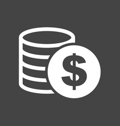 Money icon on grey background coins in flat style vector