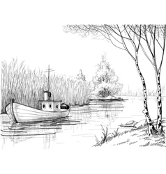 Nature sketch boat on river or delta vector image vector image
