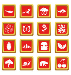 Oil industry items icons set red vector
