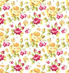 Pattern with yellow and pink roses vector image