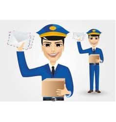 Postman holding envelopes and cardboard box vector