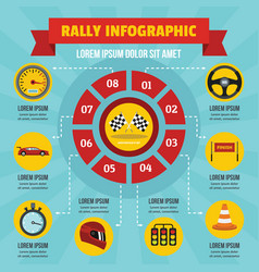 Rally infographic concept flat style vector