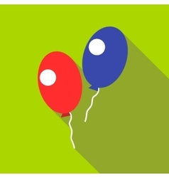 Red and blue balloons icon flat style vector