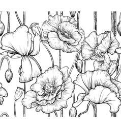 seamless pattern of black and white poppies vector image vector image
