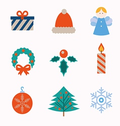 Set of modern style Christmas icons vector image vector image