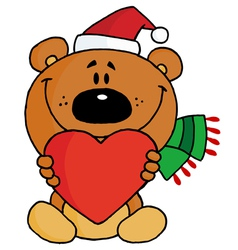 teddy bear holding a red heart vector image vector image