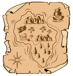 Treasure map with ship sailing to island vector