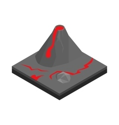 Volcano landscape icon isometric 3d style vector