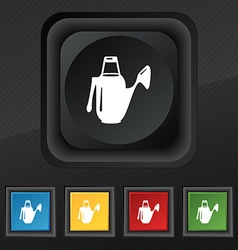 Watering can icon symbol Set of five colorful vector image