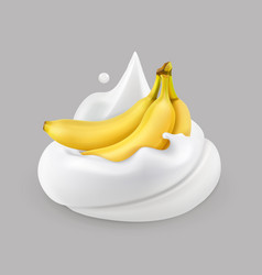 whipped cream and banana icon vector image vector image