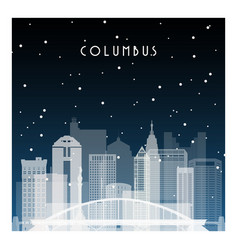 winter night in columbus night city in flat style vector image vector image