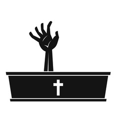 Zombie hand coming out of his coffin icon vector