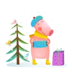 Childish cheerful little pig in winter warm vector