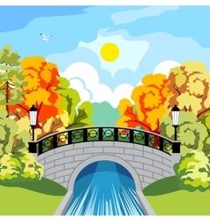 Solar autumn in the park idyllic vector