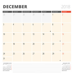 calendar planner for december 2018 design vector image
