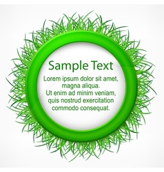 Grass round label vector