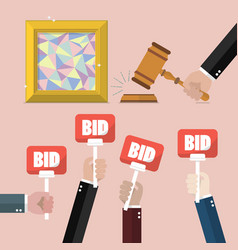 Buying selling painting from auction vector
