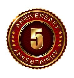 5 years anniversary golden label vector