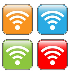 Wi fi icon buttons set vector