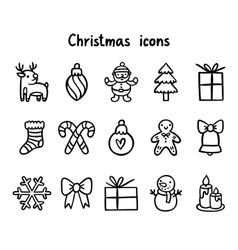 Christmas icons outlined vector
