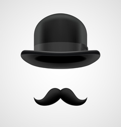 Boss gentleman with moustaches and bowler hat vector