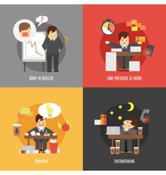 Stress at work flat icons composition vector