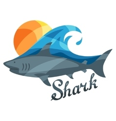 Bright or print with shark for t vector