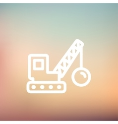 Demolition trailer thin line icon vector